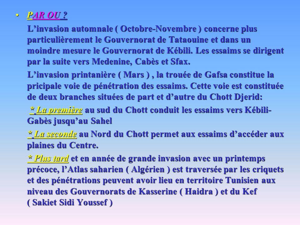 PAR OU ?PAR OU ? Linvasion automnale ( Octobre-Novembre ) concerne plus particulièrement le Gouvernorat de Tataouine et dans un moindre mesure le Gouv