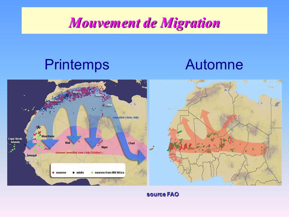 Mouvement de Migration PrintempsAutomne source FAO