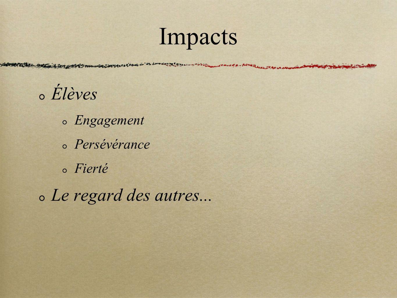 Impacts Élèves Engagement Persévérance Fierté Le regard des autres...