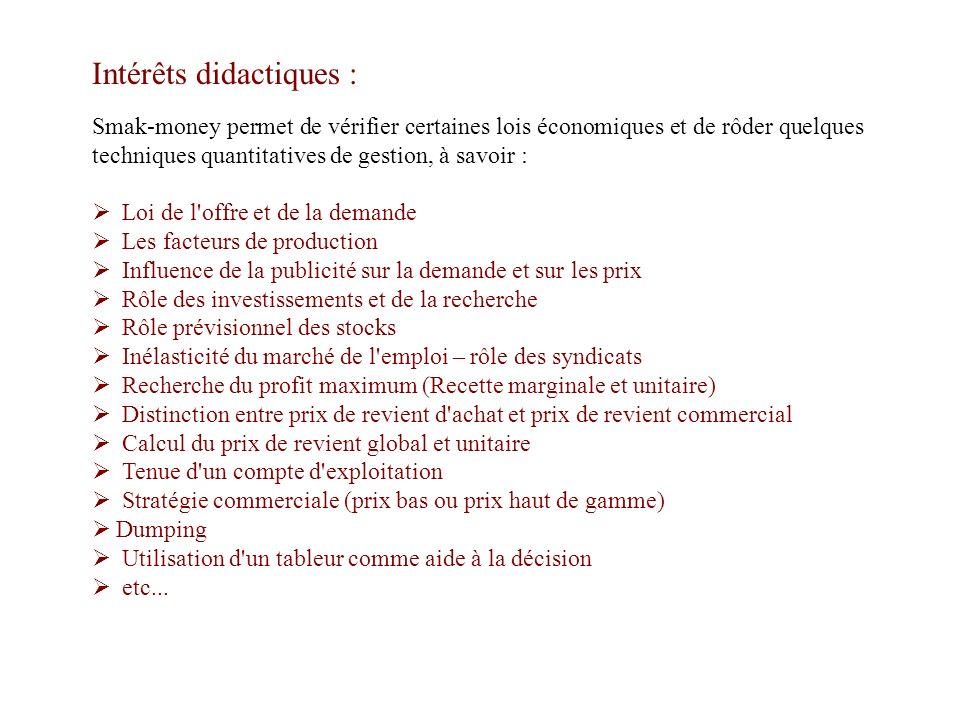 Intérêts didactiques : Smak-money permet de vérifier certaines lois économiques et de rôder quelques techniques quantitatives de gestion, à savoir : L