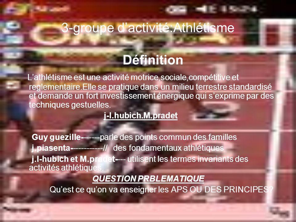 3-groupe dactivité:Athlétisme Définition Lathlétisme est une activité motrice,sociale,compétitive et reglementaire.Elle se pratique dans un milieu terrestre standardisé et demande un fort investissement énergique qui sexprime par des techniques gestuelles.
