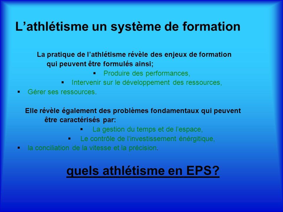 La pratique de lathlétisme révèle des enjeux de formation qui peuvent être formulés ainsi; Produire des performances, Intervenir sur le développement des ressources, Gérer ses ressources.