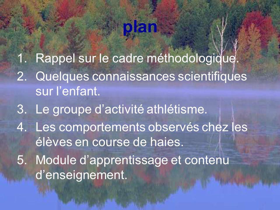 plan 1.Rappel sur le cadre méthodologique.2.Quelques connaissances scientifiques sur lenfant.