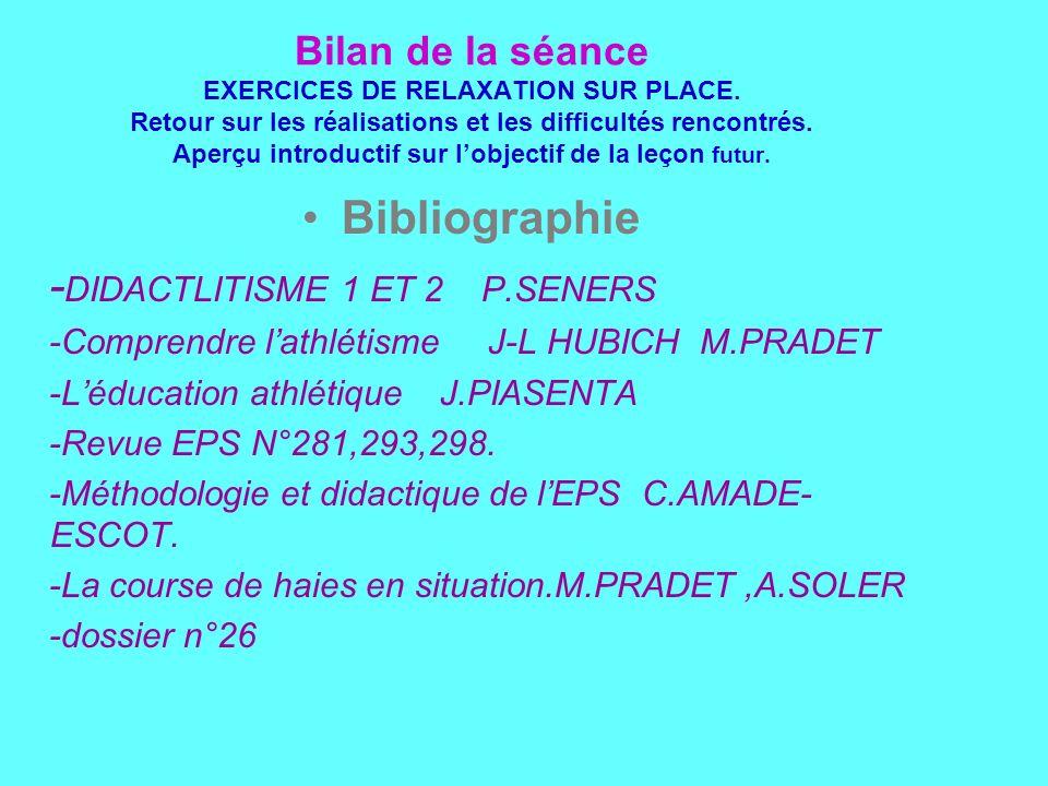 Bilan de la séance EXERCICES DE RELAXATION SUR PLACE.