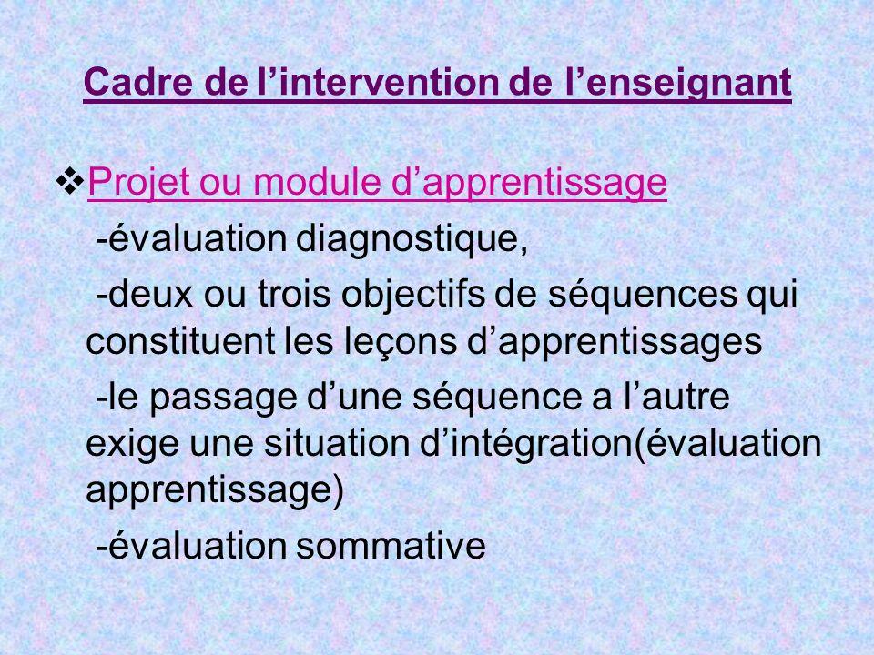 Cadre de lintervention de lenseignant Projet ou module dapprentissage -évaluation diagnostique, -deux ou trois objectifs de séquences qui constituent les leçons dapprentissages -le passage dune séquence a lautre exige une situation dintégration(évaluation apprentissage) -évaluation sommative
