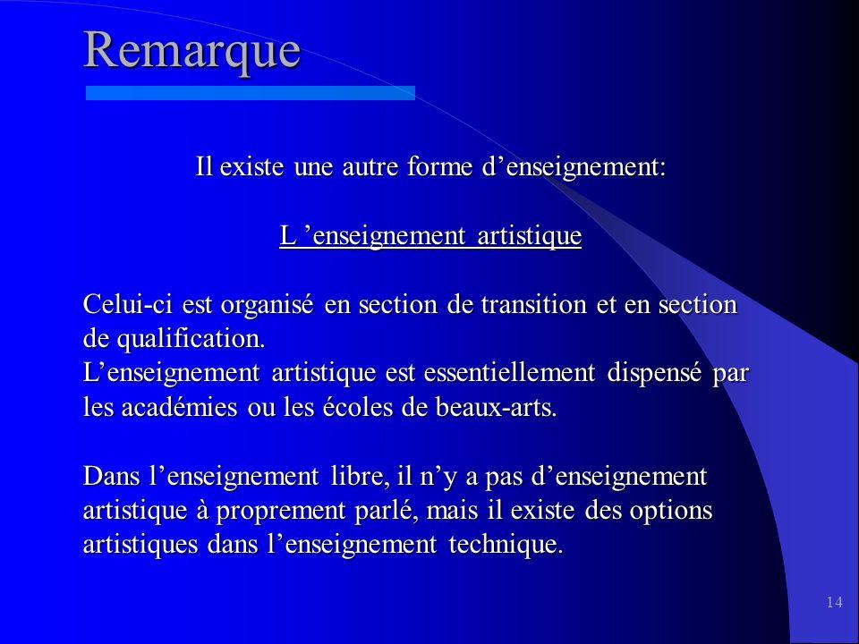 14 Remarque Il existe une autre forme denseignement: L enseignement artistique Celui-ci est organisé en section de transition et en section de qualification.