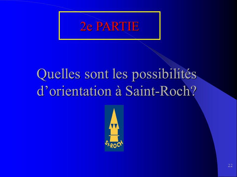 22 Quelles sont les possibilités dorientation à Saint-Roch 2e PARTIE