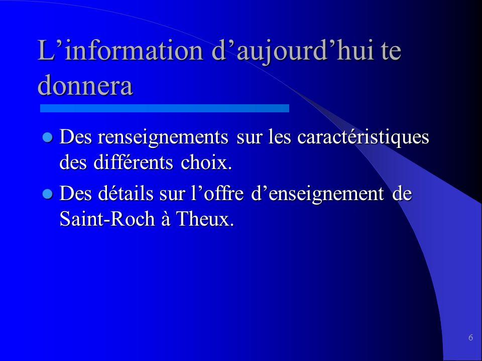 6 Linformation daujourdhui te donnera Des renseignements sur les caractéristiques des différents choix.