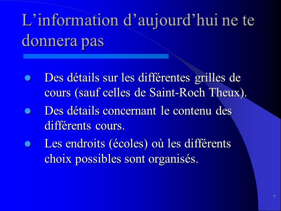 7 Linformation daujourdhui ne te donnera pas Des détails sur les différentes grilles de cours (sauf celles de Saint-Roch Theux).
