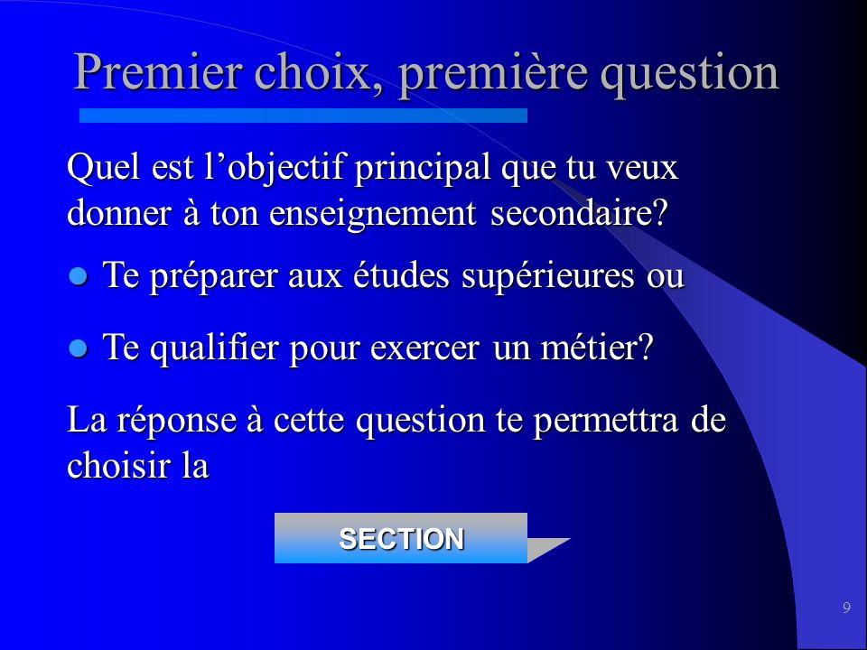 9 SECTION Premier choix, première question Quel est lobjectif principal que tu veux donner à ton enseignement secondaire.