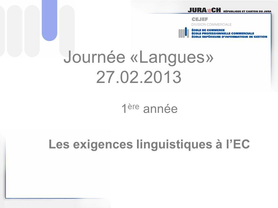 Journée «Langues» 27.02.2013 1 ère année Les exigences linguistiques à lEC