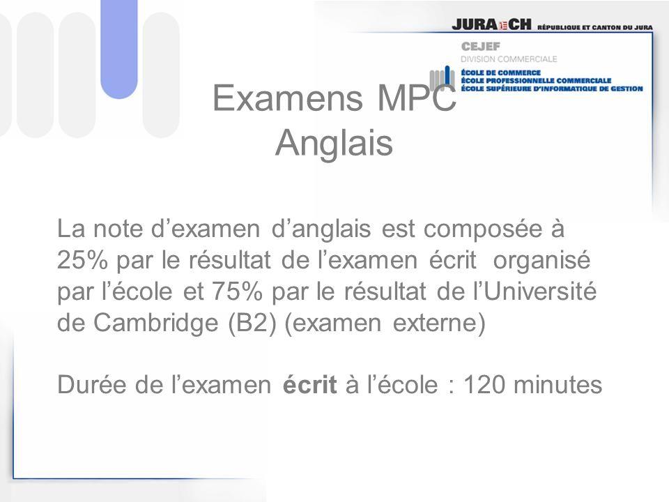 Examens MPC Anglais La note dexamen danglais est composée à 25% par le résultat de lexamen écrit organisé par lécole et 75% par le résultat de lUniver