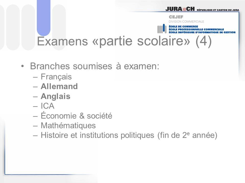 Examens «partie scolaire» (4) Branches soumises à examen: –Français –Allemand –Anglais –ICA –Économie & société –Mathématiques –Histoire et institutio