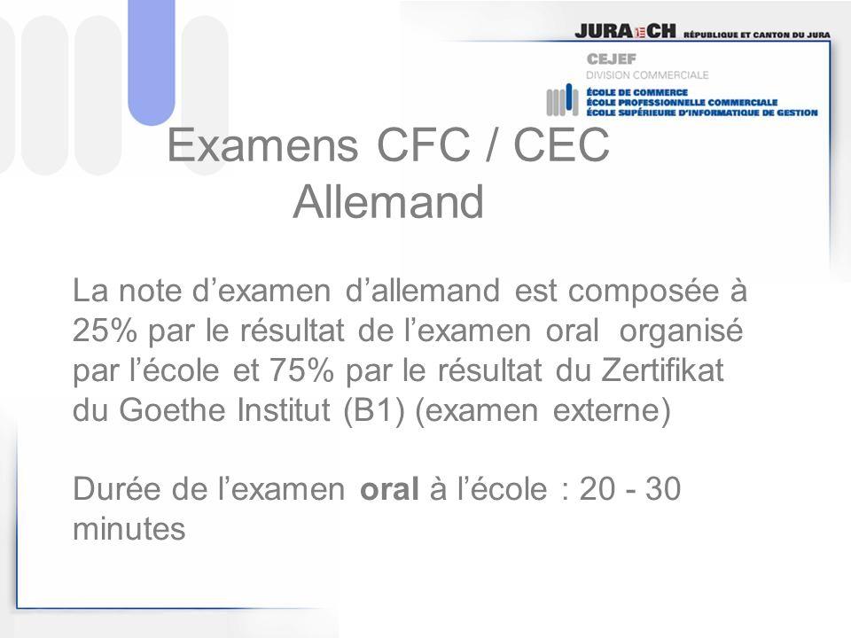 Examens CFC / CEC Allemand La note dexamen dallemand est composée à 25% par le résultat de lexamen oral organisé par lécole et 75% par le résultat du