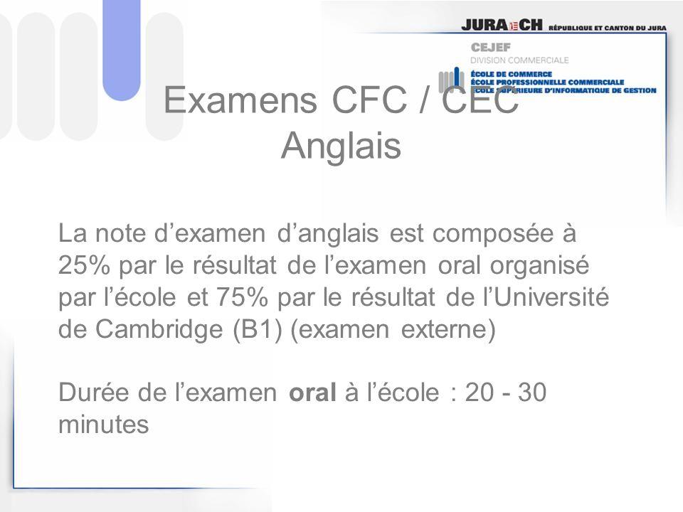 Examens CFC / CEC Anglais La note dexamen danglais est composée à 25% par le résultat de lexamen oral organisé par lécole et 75% par le résultat de lU