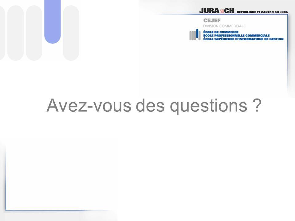 Avez-vous des questions ?
