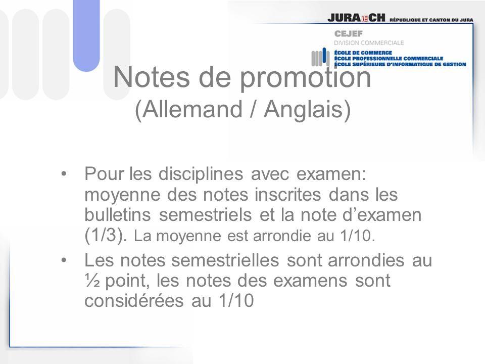Conditions de promotion 1.La note globale égale ou supérieure à 4.0 2.Deux notes de promotion au plus inférieures à 4.0 (3.9 = note insuffisante) 3.La somme des écarts entre les notes insuffisantes et la note 4 pas supérieure à 2 points .