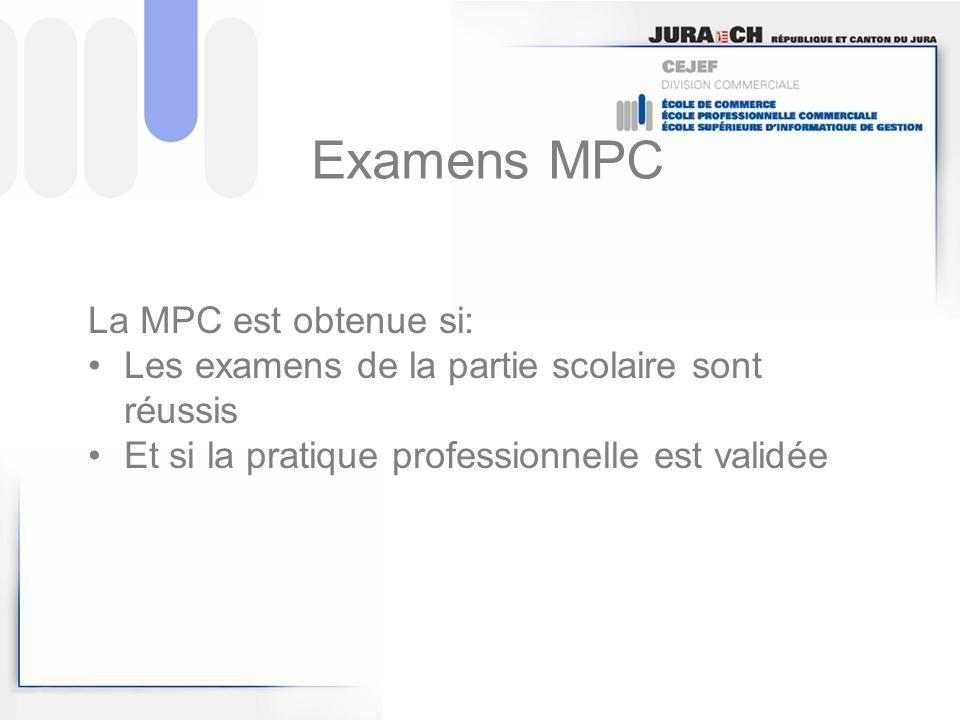 Examens MPC La MPC est obtenue si: Les examens de la partie scolaire sont réussis Et si la pratique professionnelle est validée