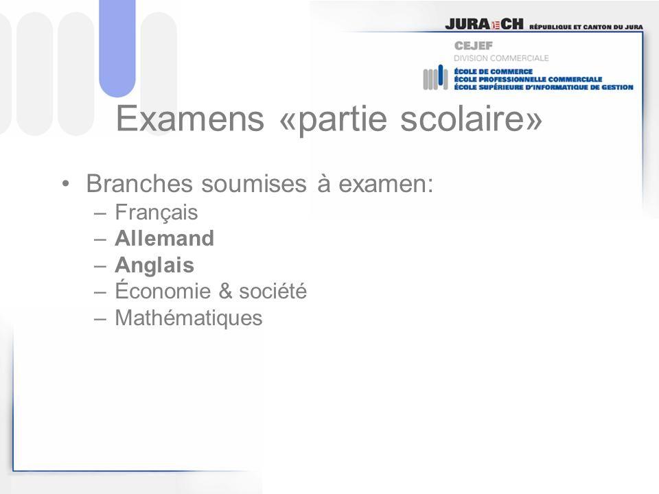 Examens «partie scolaire» Branches soumises à examen: –Français –Allemand –Anglais –Économie & société –Mathématiques