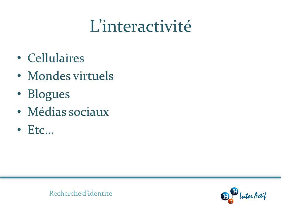 Linteractivité Cellulaires Mondes virtuels Blogues Médias sociaux Etc… Recherche didentité