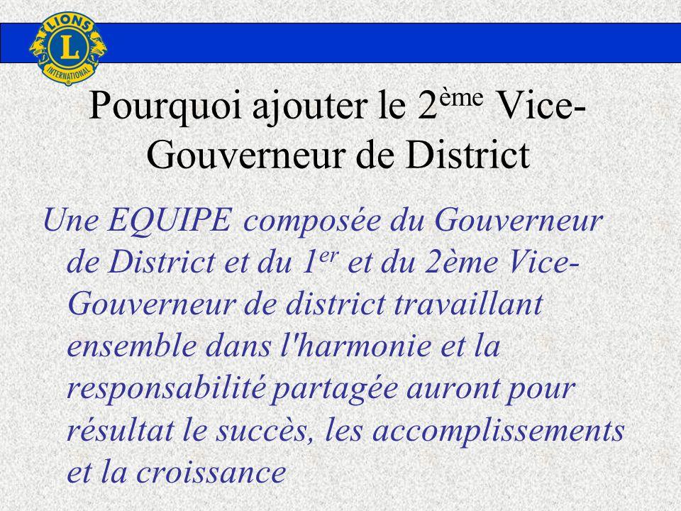 Pourquoi ajouter le 2 ème Vice- Gouverneur de District Une EQUIPE composée du Gouverneur de District et du 1 er et du 2ème Vice- Gouverneur de distric