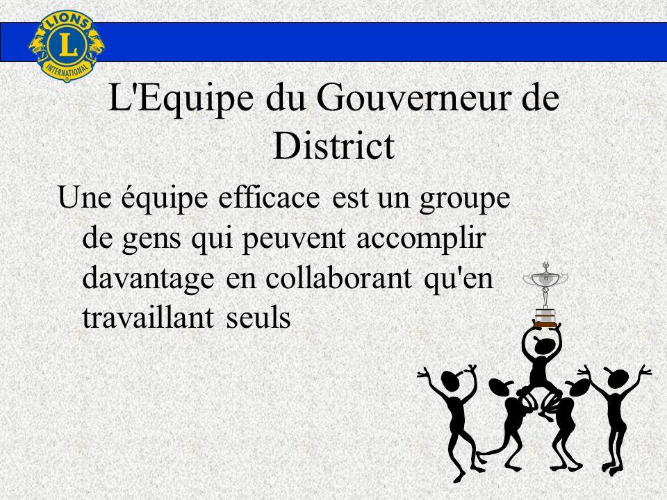 L'Equipe du Gouverneur de District Une équipe efficace est un groupe de gens qui peuvent accomplir davantage en collaborant qu'en travaillant seuls