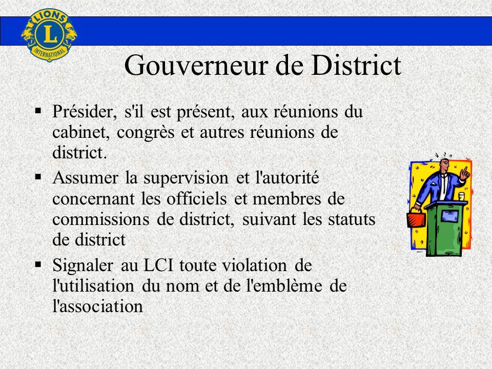 Gouverneur de District Présider, s'il est présent, aux réunions du cabinet, congrès et autres réunions de district. Assumer la supervision et l'autori