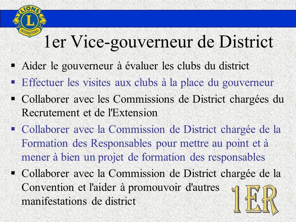 1er Vice-gouverneur de District Aider le gouverneur à évaluer les clubs du district Effectuer les visites aux clubs à la place du gouverneur Collabore