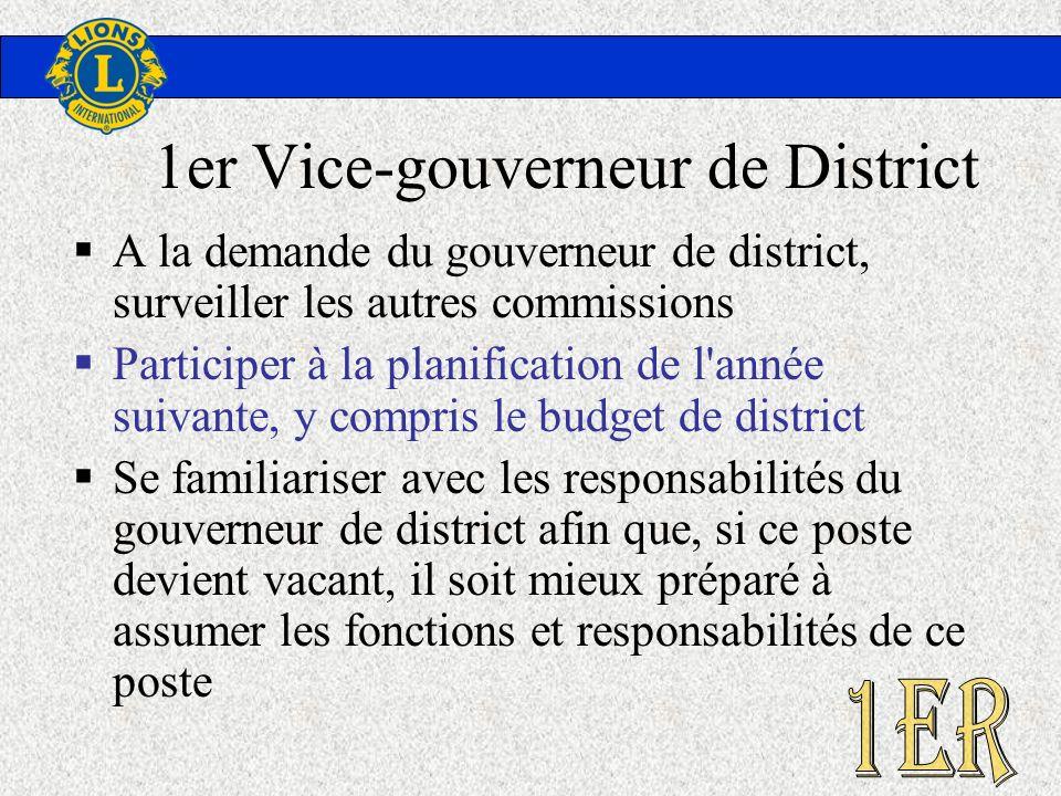 1er Vice-gouverneur de District A la demande du gouverneur de district, surveiller les autres commissions Participer à la planification de l'année sui