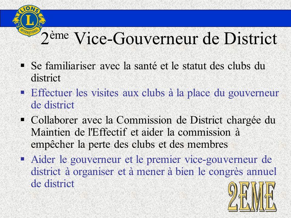2 ème Vice-Gouverneur de District Se familiariser avec la santé et le statut des clubs du district Effectuer les visites aux clubs à la place du gouve