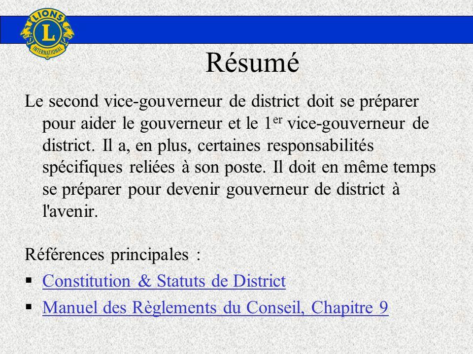 Résumé Le second vice-gouverneur de district doit se préparer pour aider le gouverneur et le 1 er vice-gouverneur de district. Il a, en plus, certaine