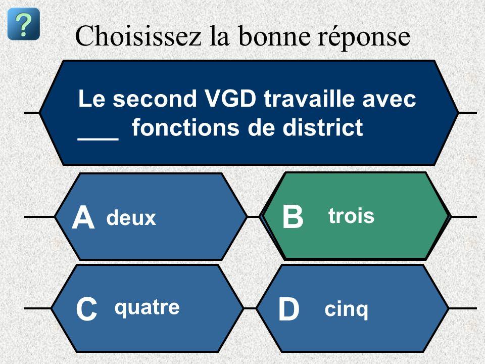 Choisissez la bonne réponse Le second VGD travaille avec ___ fonctions de district deux A B trois quatre cinq CD
