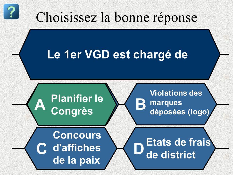 Choisissez la bonne réponse Le 1er VGD est chargé de Planifier le Congrès A B Violations des marques déposées (logo) Concours d'affiches de la paix Et