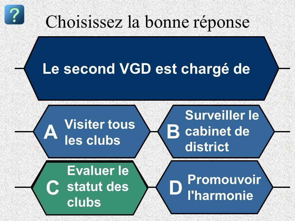 Choisissez la bonne réponse Le second VGD est chargé de Visiter tous les clubs A B Surveiller le cabinet de district Evaluer le statut des clubs Promo