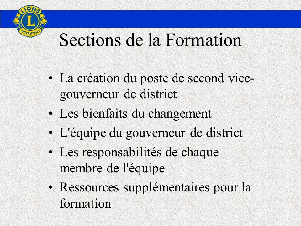 Sections de la Formation La création du poste de second vice- gouverneur de district Les bienfaits du changement L'équipe du gouverneur de district Le