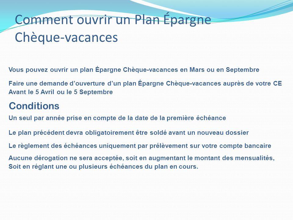 Comment ouvrir un Plan Épargne Chèque-vacances Vous pouvez ouvrir un plan Épargne Chèque-vacances en Mars ou en Septembre Un seul par année prise en c