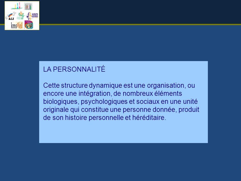 LA PERSONNALITÉ Cette structure dynamique est une organisation, ou encore une intégration, de nombreux éléments biologiques, psychologiques et sociaux