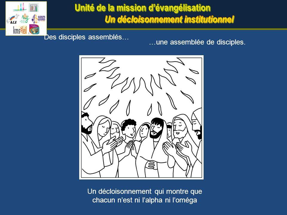 …une assemblée de disciples. Des disciples assemblés… Un décloisonnement qui montre que chacun nest ni lalpha ni loméga