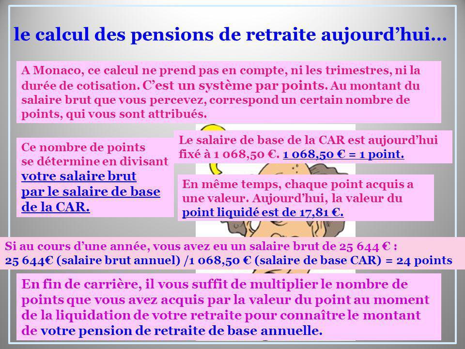A Monaco, ce calcul ne prend pas en compte, ni les trimestres, ni la durée de cotisation. Cest un système par points. Au montant du salaire brut que v