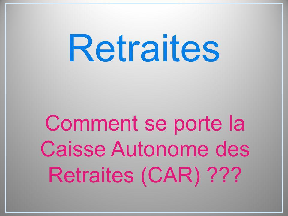 Retraites Comment se porte la Caisse Autonome des Retraites (CAR) ???