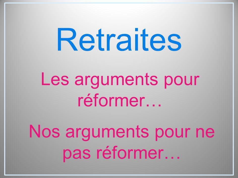 Retraites Les arguments pour réformer… Nos arguments pour ne pas réformer…
