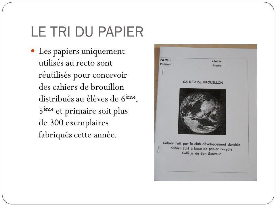LE TRI DU PAPIER Les papiers uniquement utilisés au recto sont réutilisés pour concevoir des cahiers de brouillon distribués au élèves de 6 ème, 5 ème et primaire soit plus de 300 exemplaires fabriqués cette année.
