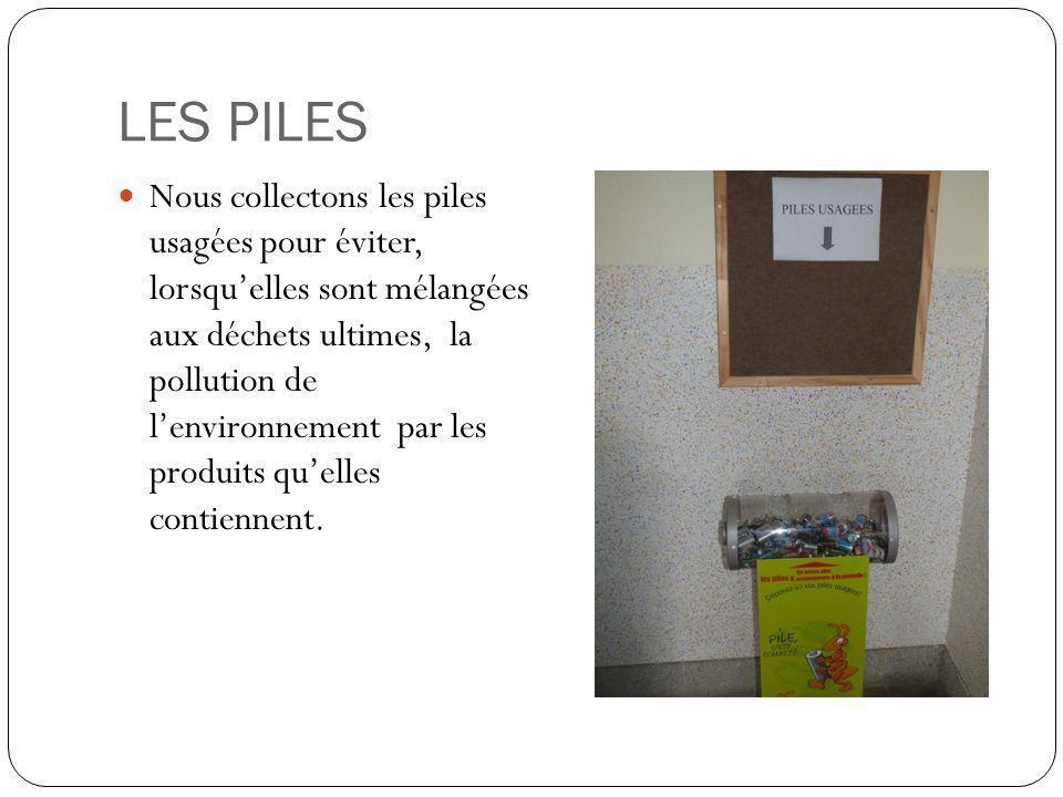 LES PILES Nous collectons les piles usagées pour éviter, lorsquelles sont mélangées aux déchets ultimes, la pollution de lenvironnement par les produits quelles contiennent.