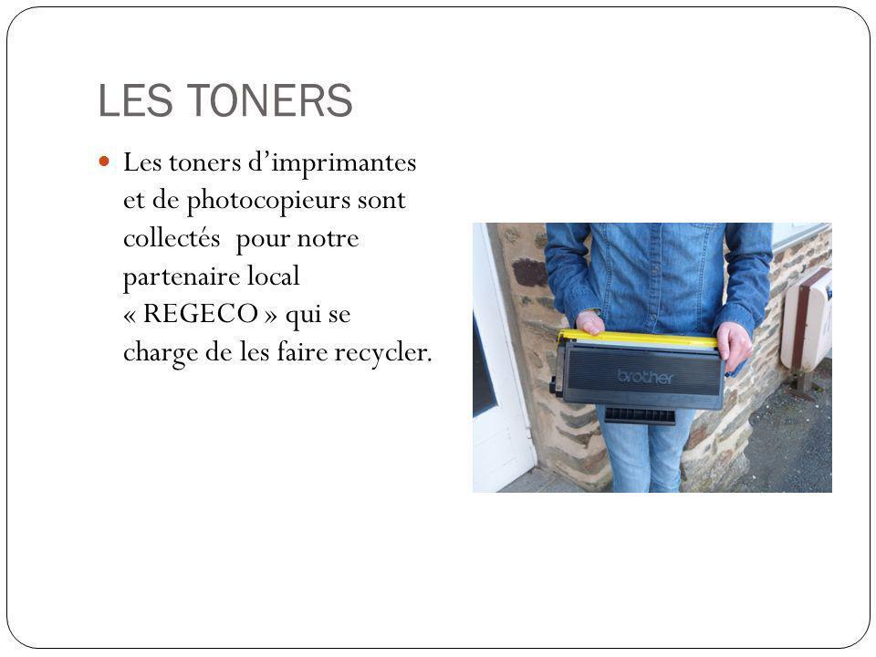 LES TONERS Les toners dimprimantes et de photocopieurs sont collectés pour notre partenaire local « REGECO » qui se charge de les faire recycler.
