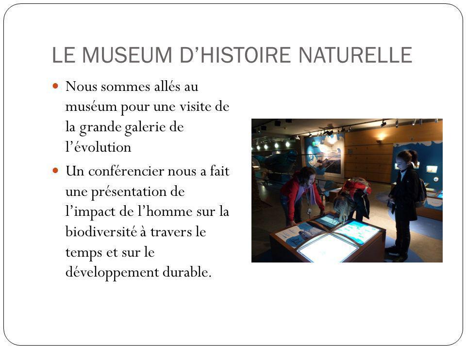 LE MUSEUM DHISTOIRE NATURELLE Nous sommes allés au muséum pour une visite de la grande galerie de lévolution Un conférencier nous a fait une présentation de limpact de lhomme sur la biodiversité à travers le temps et sur le développement durable.