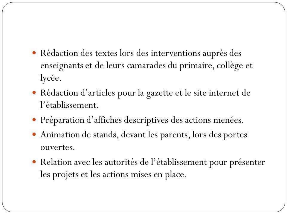 Rédaction des textes lors des interventions auprès des enseignants et de leurs camarades du primaire, collège et lycée.