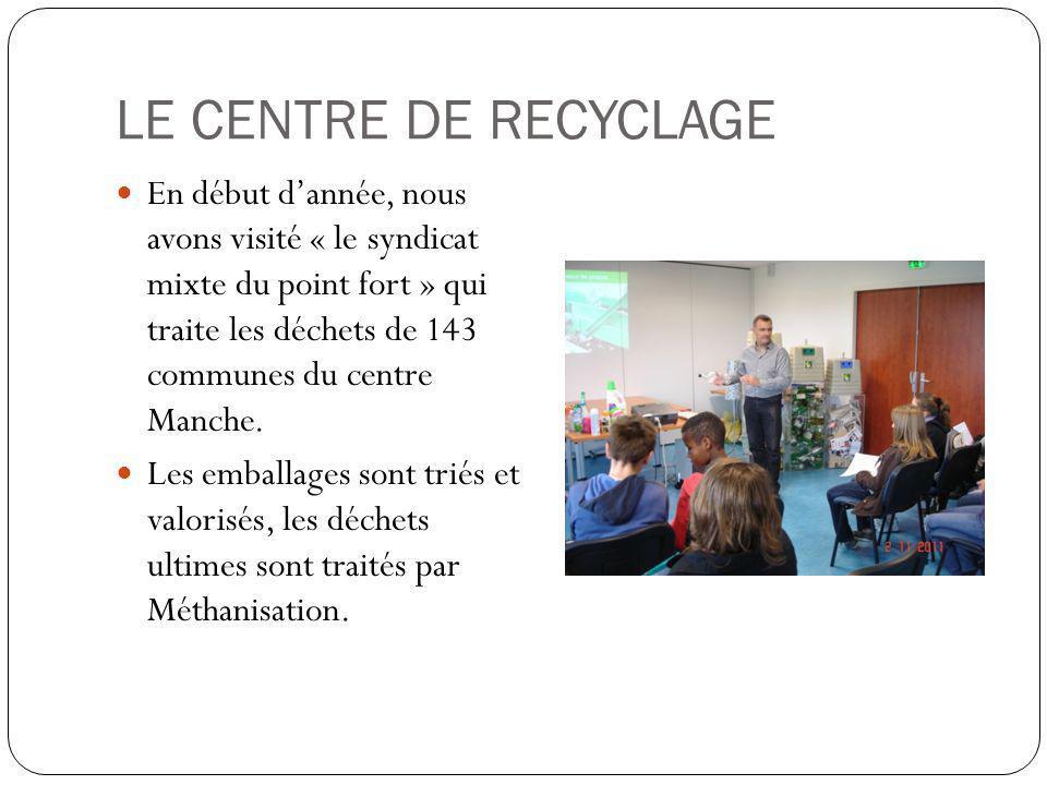 LE CENTRE DE RECYCLAGE En début dannée, nous avons visité « le syndicat mixte du point fort » qui traite les déchets de 143 communes du centre Manche.