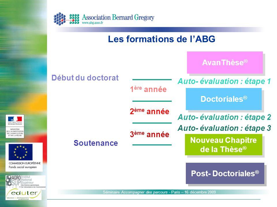 Séminaire Accompagner des parcours - Paris – 16 décembre 2009 Doctoriales ® Nouveau Chapitre de la Thèse ® AvanThèse ® Auto- évaluation : étape 1 Débu