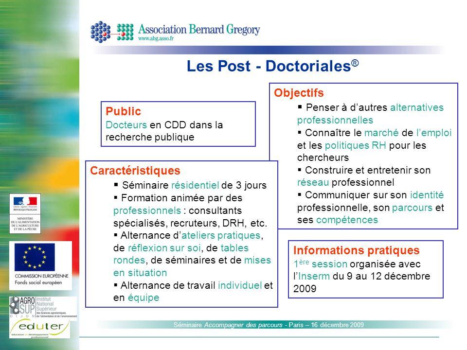 Informations pratiques 1 ère session organisée avec lInserm du 9 au 12 décembre 2009 Public Docteurs en CDD dans la recherche publique Objectifs Pense