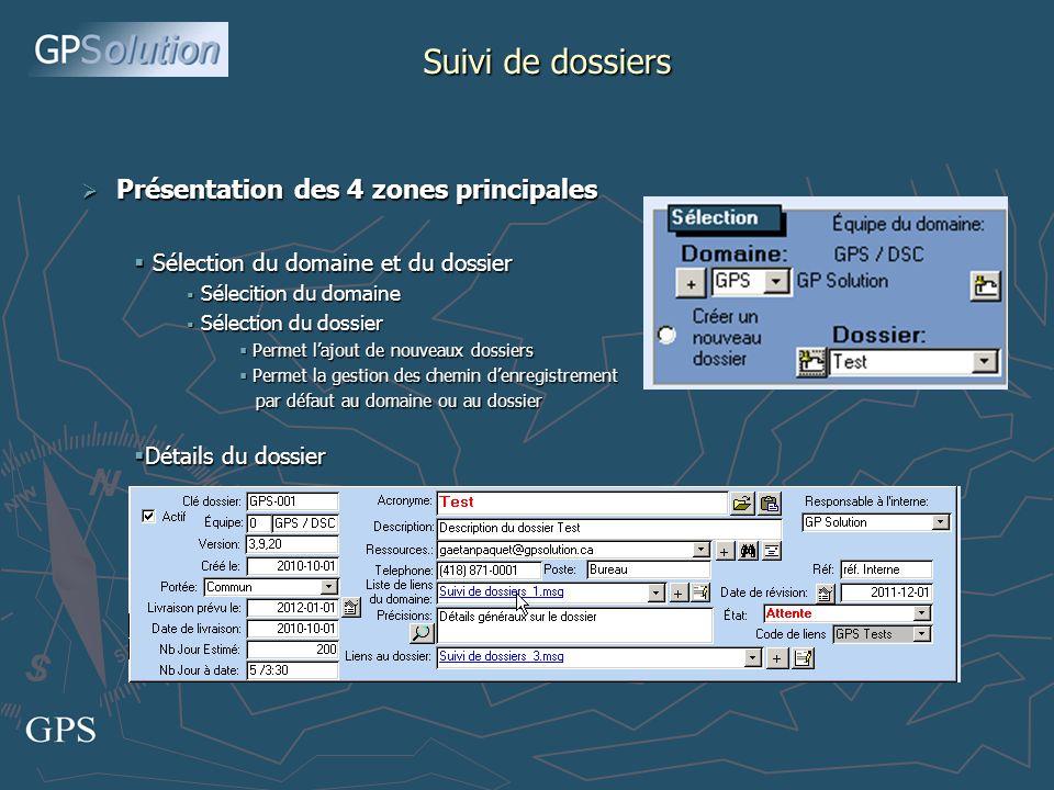 Suivi de dossiers Liste des communications liées au dossier affiché (Notes) Détails des communications Interlocuteur.